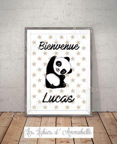 Affiche ou poster format A3 Panda Bienvenue PERSONNALISABLE