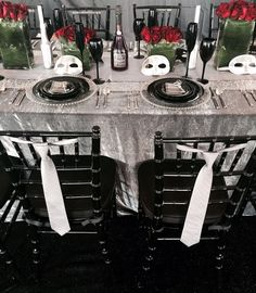 Fifty Shades of Grey theme table! Love the combination of Silvers, Platinums & Sequin. #eventprofs www.creativecoverings.com