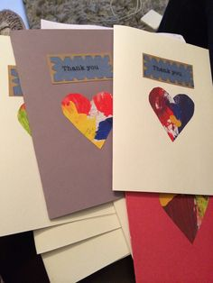 Personal handmade thank you cards using hearts cut from toddler's painting