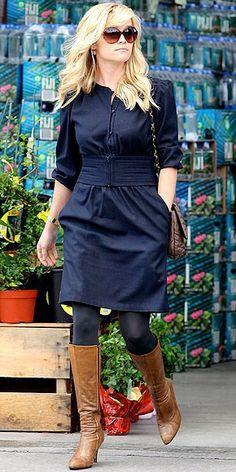 blue dress, boots