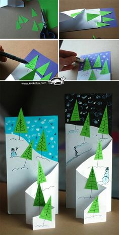 Tri fold card Using Petal Promenade Card Making Photo Tutorial: Handmade Christmas / Winter Cards . ›Card making photo tutorial: handmade Christmas / winter cards… fancy folding cascades…with the Moving Z-Fold Card and Diy Christmas Cards, Christmas Crafts For Kids, Christmas Activities, Handmade Christmas, Holiday Crafts, Christmas Decorations, Christmas Gifts, Christmas Bowl, Xmas Cards To Make