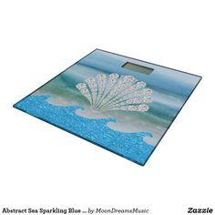 #AbstractSea #SparklingBlueWaves #DiamondSeashell #BathroomScale by #MoonDreamsDesigns #TemperedGlass