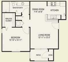 One Bedroom Apartment Floor Plan Apartment Ideas Pinterest