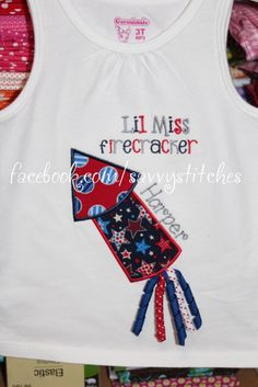 Fun 4th of July firecracker shirt with curly ribbons!