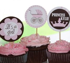 PDF Girl Princess Baby Shower Cupcake Toppers by SnickerplumLLC, $4.99