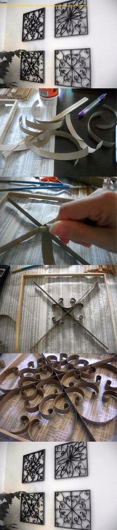 http://thriftycraftygirl.blogspot.com.br/2011/06/wrought-iron-except-its-not.html Ferro Forjado, só que não é. Arte feita a partir de rolos de papel higiênico.