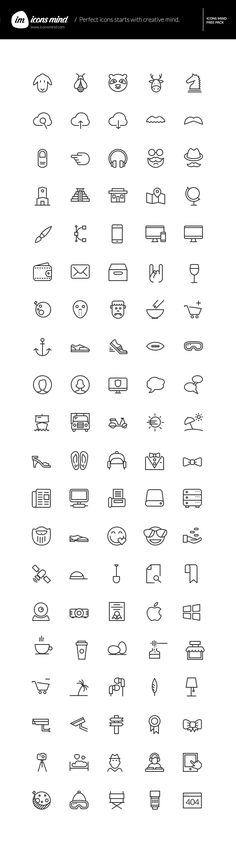 This is a simple yet diverse set of 100 free vector icons from Icons Mind, an impressive collection of 2000+ icons for...