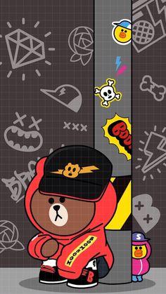 Lines Wallpaper, Bear Wallpaper, Aesthetic Iphone Wallpaper, Cartoon Wallpaper, Cute Love Gif, Friends Wallpaper, Character Wallpaper, We Bare Bears, Line Friends