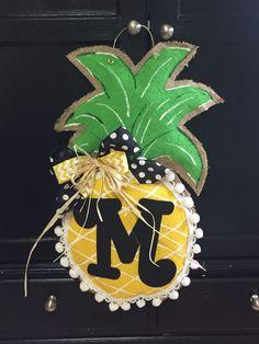 A personal favorite from my Etsy shop https://www.etsy.com/listing/294913727/burlap-doorhanger-burlap-pineapple-door