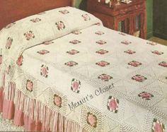 INSTANT DOWNLOAD 1954 Rose Bower Bedspread Vintage by annalaia
