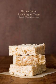Brown Butter Rice Krispies Treats Recipe - Crunchy Creamy Sweet @Anna Totten Totten   Crunchy Creamy Sweet
