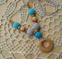 Nursing necklace with juniper ring Wooden beads от NittoMiton