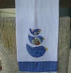 Little Bluebirds Appliqued Towel. $15.00, via Etsy.
