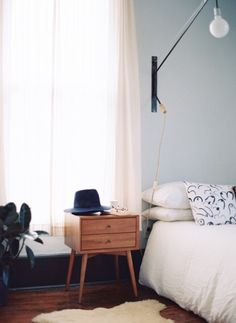 This bedside table, and that pillow though!