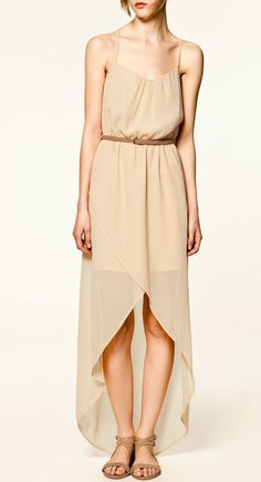 Nude Chiffon Spaghetti Strap Hi-Low Dress... Wonder what it would look like in a blue or green...