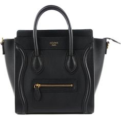 CELINE Smooth Calfskin Nano Luggage Black ❤ liked on Polyvore featuring bags and luggage