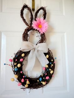 LAST ONE in this style!!!!!!! - Easter Bunny Wreath - Spring Wreath - Summer Wreath - Easter Door Decoration