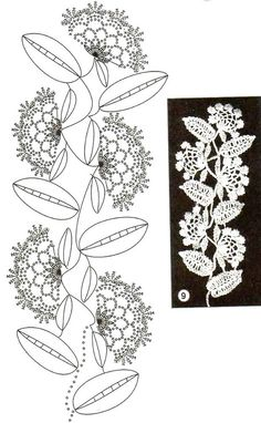 Flowers and leaves, crochet patterns.