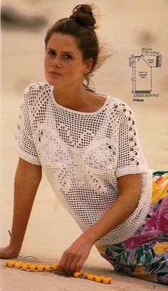 Beyaz tığ işi örgü bayan kısa kol bluzlar