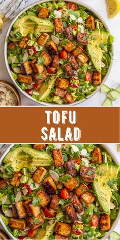 This Tofu Salad is an easy meal absolutely full of flavor! Fresh romaine is tossed with deliciously marinated tofu, crisp cucumbers, juicy cherry tomatoes, avocado and crunchy almonds to create this incredible salad. Top with a homemade lemon herb dressing for a bright, summery dish that's sure to keep you satisfied! This salad recipe is naturally vegan and dairy free. The perfect plant-based lunch or light dinner!