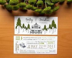 Rustic Wedding Invitation With Forest & Barn Illustration. $2.50, via Etsy.