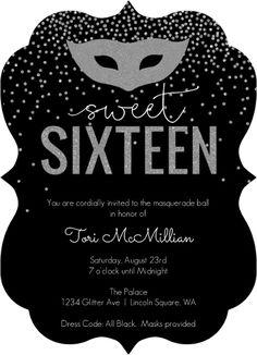 Silver Faux Glitter Masquerade Sweet Sixteen Birthday Invitation