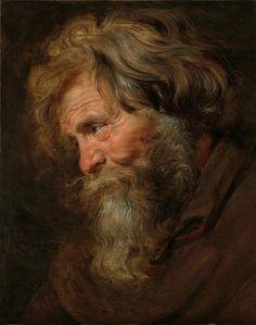 * Peter Paul Rubens - - - Gezichtsstudie van een oude man