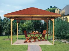 WEKA Sparset Gartenoase 651 Gr. 3 Gartenlaube Sparset inkl. Dachschindeln + H-Anker Set