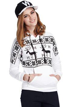 ROMWE   ROMWE Deers Print Twin Pockets White Hoodie, The Latest Street Fashion