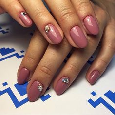 Beautiful autumn nails, Classic nails ideas, Fall nails with rhinestones, Fashion autumn nails, Glossy nails, Hardware nails, Nails ideas 2017, Nails with rhinestones ideas