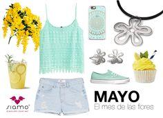 Mayo es el mes de las flores y te proponemos este conjunto para lucir nuestro colgante y pendientes florales en días de calor ¿Te animas? #joyería #jewellery {www.siamo.es}