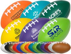 Mini Stress Footballs - 4 inch Squeezable Soft Stress Relievers Footballs. Available in 14 bold colors.