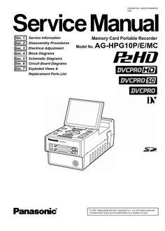 Panasonic HC VX980 VX981 VX989 VX980M Camcorder Service