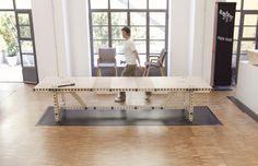 Melle Koot | 'modular design table which comprises several birch plywood units, joined together using steel connectors'
