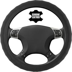 KM World Black 13.5-14.25 Inch PU Leather Steering Wheel Cover With Finger Indentations, Fits Nissan Cube