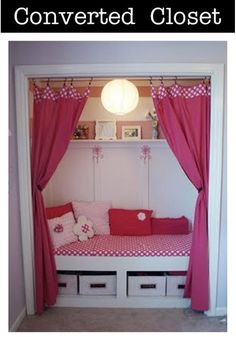 toddler beds in closets | Another bedroom/reading nook. All your favorite books are within ...