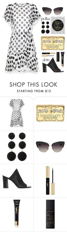 """""""Summer Wedding: Polka Dots"""" by catchsomeraes ❤ liked on Polyvore featuring Dolce&Gabbana, Cara Accessories, 1.State, Yves Saint Laurent, NARS Cosmetics, PolkaDots, dolceandgabbana, blackandwhite, summerwedding and ruffles"""