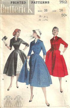 Butterick 7512 Vintage 50s Sewing Pattern Dress by studioGpatterns