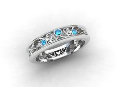 Blue diamond ring, Thin filigree ring, Lace, Blue, Wedding band, Blue diamond wedding, unique, filigree, thin, vintage style, White gold. $1,190.00, via Etsy.