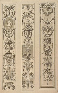 Ornament Drawing, Vintage Architecture, Grisaille, Decorative Panels, Classic Interior, Architectural Elements, Design Elements, Art Decor, Stencils