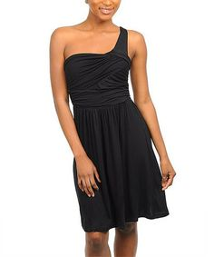 Take a look at this Black Asymmetrical Dress by Buy in America on #zulily today! $15 !!