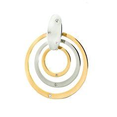Pendentif double cercle or jaune/or blanc 375 et cristaux de Swarovski. Prix: 112€