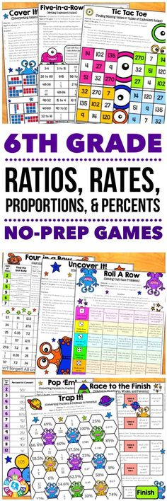 """""""Students are LOVING these games to reinforce standards."""" This 6th Grade Ratios, Rates, Proportions, and Percents Games Pack includes 30 differentiated games for practicing using ratios, finding equivalent ratios, calculating rates, calculating percents and percents of a quantity, converting measurements, and much more! These games support the 6th grade CCSS ratios and proportional relationships standards {6.RP.1, 2.RP.2, 2.RP.3}. Math Teacher, Math Classroom, Teaching Math, Teaching Ideas, 6th Grade Math Games, Sixth Grade Math, Math Stations, Math Centers, Rp 1"""