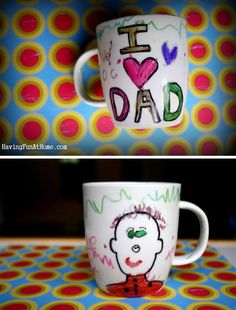 DIY Father's Day mug. Fun sharpie muds made by kids are been hot for a while now. And for this Father's day, you can make one to treat your loved Dad. The method is very simple. Get start with the tutorial here.