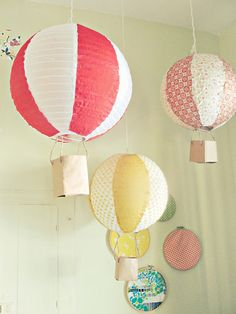 Hot air balloons made from paper lanterns. Beautiful.