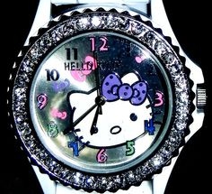 Hello Kitty Watch Crystals Around Face White Silicone Sports Band Multiple Bow | eBay