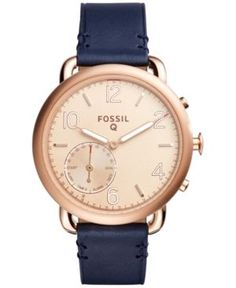 Fossil Q Women's Tailor Blue Leather Strap Hybrid Smart Watch 40MM FTW1128 - Brown