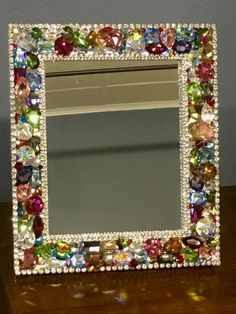 Diy Crafts - Small Swarovski Frame (colored) – Each piece is handmade and one of a kind. Pieces are multi-purpose. Mirror Crafts, Frame Crafts, Diy Frame, Jewelry Frames, Jewelry Mirror, Jewelry Art, Diy Arts And Crafts, Diy Crafts, Beaded Mirror