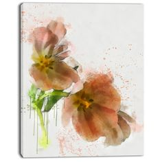 DesignArt 'Brown Tulips Sketch Watercolor' Painting Print on Wrapped Canvas Size: