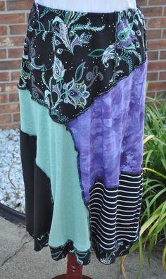 Gypsy Boho Repurposed Clothing T-shirt Skirt Upcycled Clothes Handmade Tshirt…
